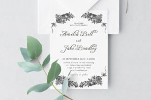 Monochrome Wedding Invitation Template