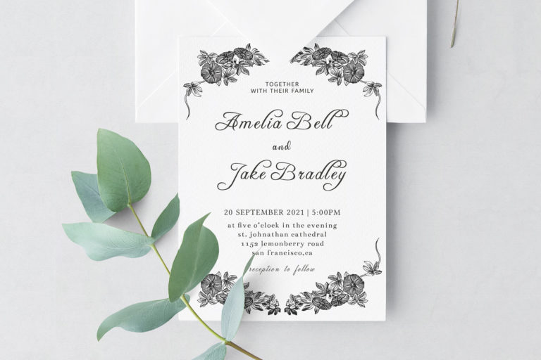 Preview image of Monochrome Wedding Invitation Template