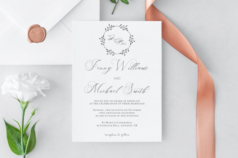 Preview image of Floral Wreath Wedding Invitation Template