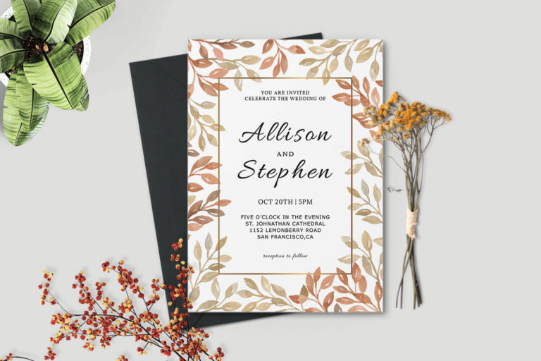 Preview image of Autumn Wreath Wedding Invitation Template