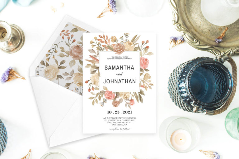 Preview image of Dusty Rose Wedding Invitation Template