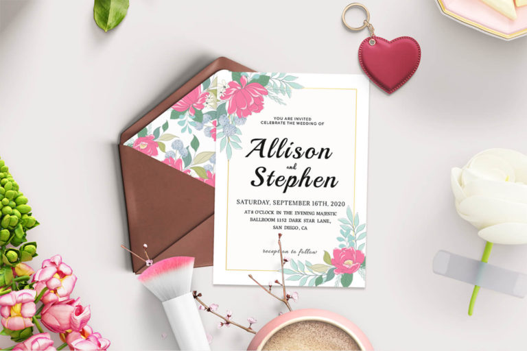 Preview image of Watercolor Flowers Wedding Invitation Template