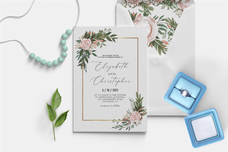 Preview image of Blush Green Wedding Invitation Template