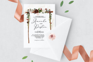 Burgundy Floral Arch Wedding Invitation