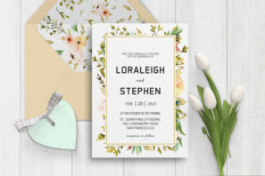 Beautiful Wreath Wedding Invitation Template