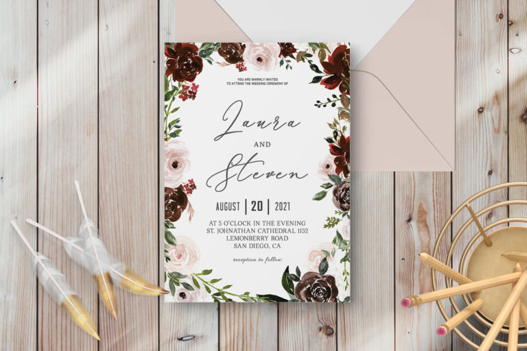 Preview image of Radiant Bloom Floral Wedding Invitation Template