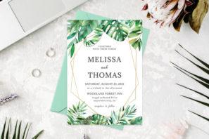 Tropical Palm Casual Wedding Invitation Template