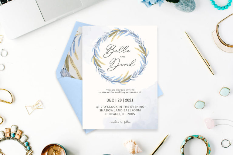 Preview image of Blue Floral Watercolor Wedding Invitation Template
