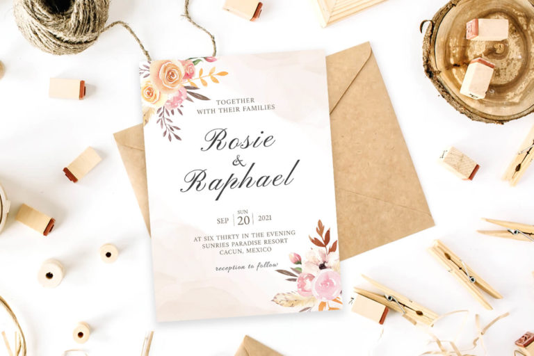 Preview image of Blush Watercolor Wedding Invitation Template
