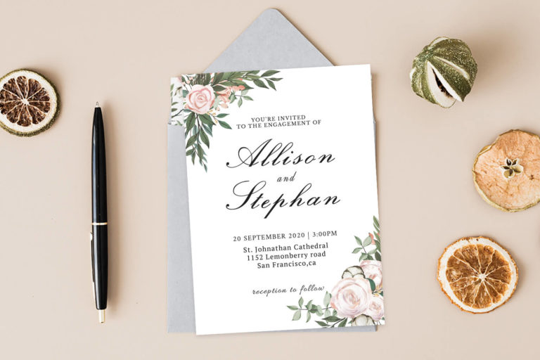 Preview image of Dusty Rose Floral Wedding Invitation Template V2