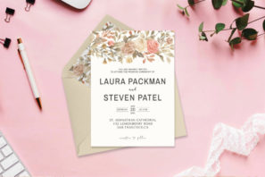 Dusty Rose Wedding Invitation Template V2