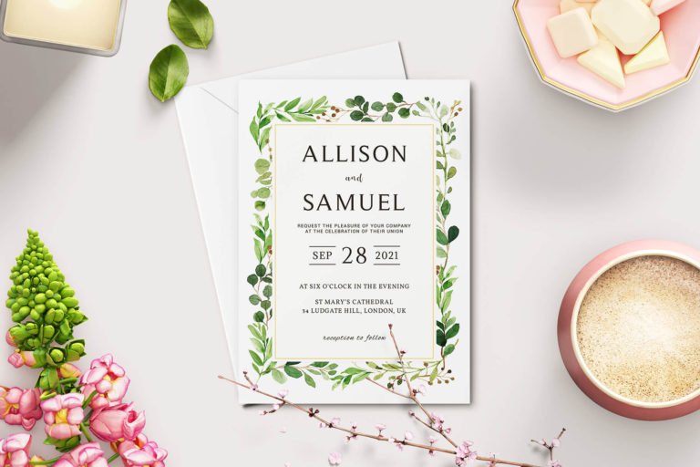 Preview image of Green Leaves Wedding Invitation Template V2