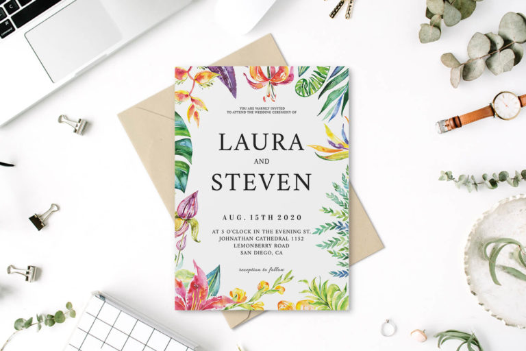 Preview image of Whimsical Watercolor Wedding Invitation Template