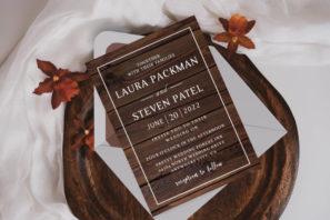 Simple Elegant Woodsy Wedding Invitation Template