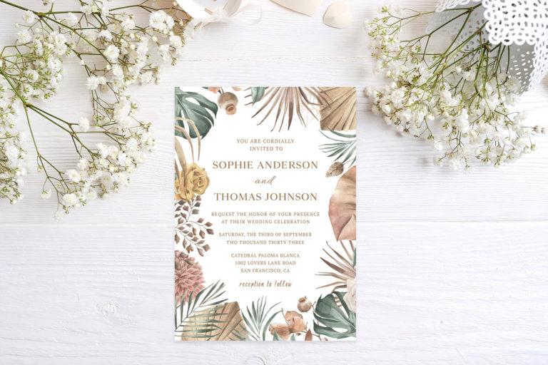 Preview image of Boho Floral Pampas Grass Foliage Wedding