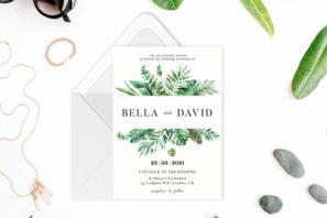 Botanical Watercolor Greenery Wedding Invitation