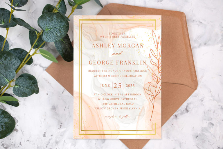Preview image of Classic Luxe Marble Wedding Invitation Template