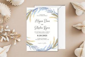 Dusty Blue Floral Wedding Invitation Template