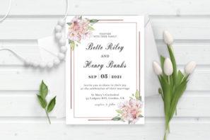 Dusty Rose Pink Wedding Invitation Template