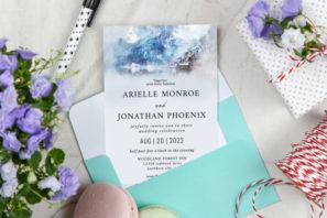Mountain Watercolor Elegant Wedding Invitation