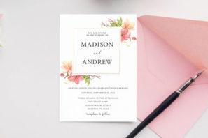 Watercolor Roses Wedding Invitation Template