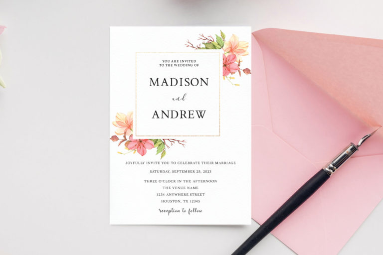 Preview image of Watercolor Roses Wedding Invitation Template