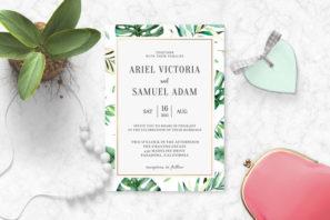 Wild Tropical Palm Wedding Invitation Template