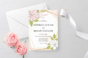 Blush Gold Floral Wedding Invitation Template