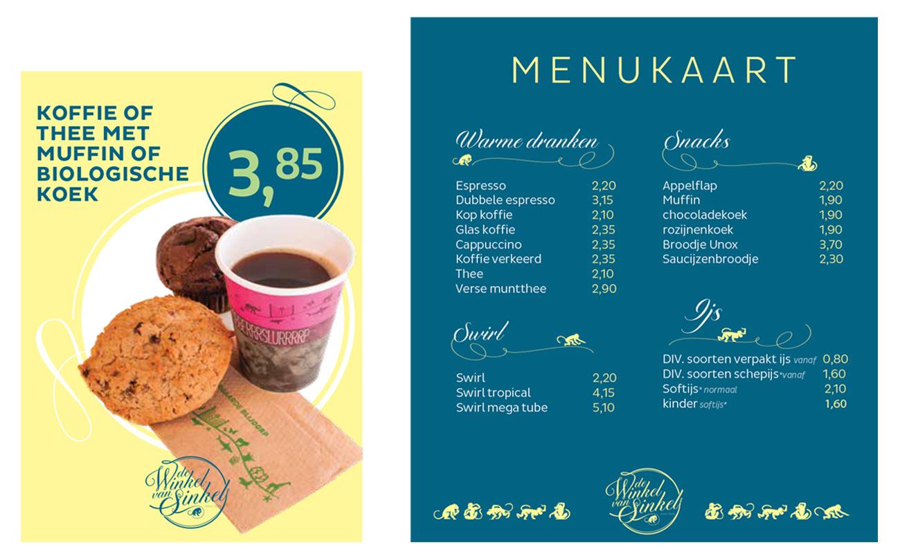Diergaarde Blijdorp Winkel van Sinkel menukaart