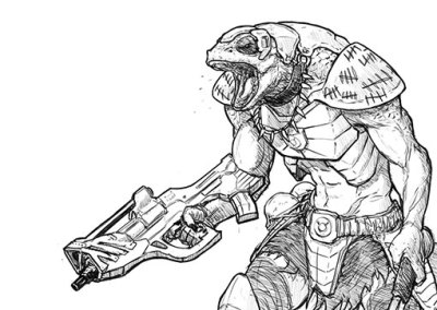 Lizard Space Warrior game character