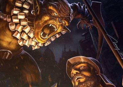 Goblin massacre, card game illustration
