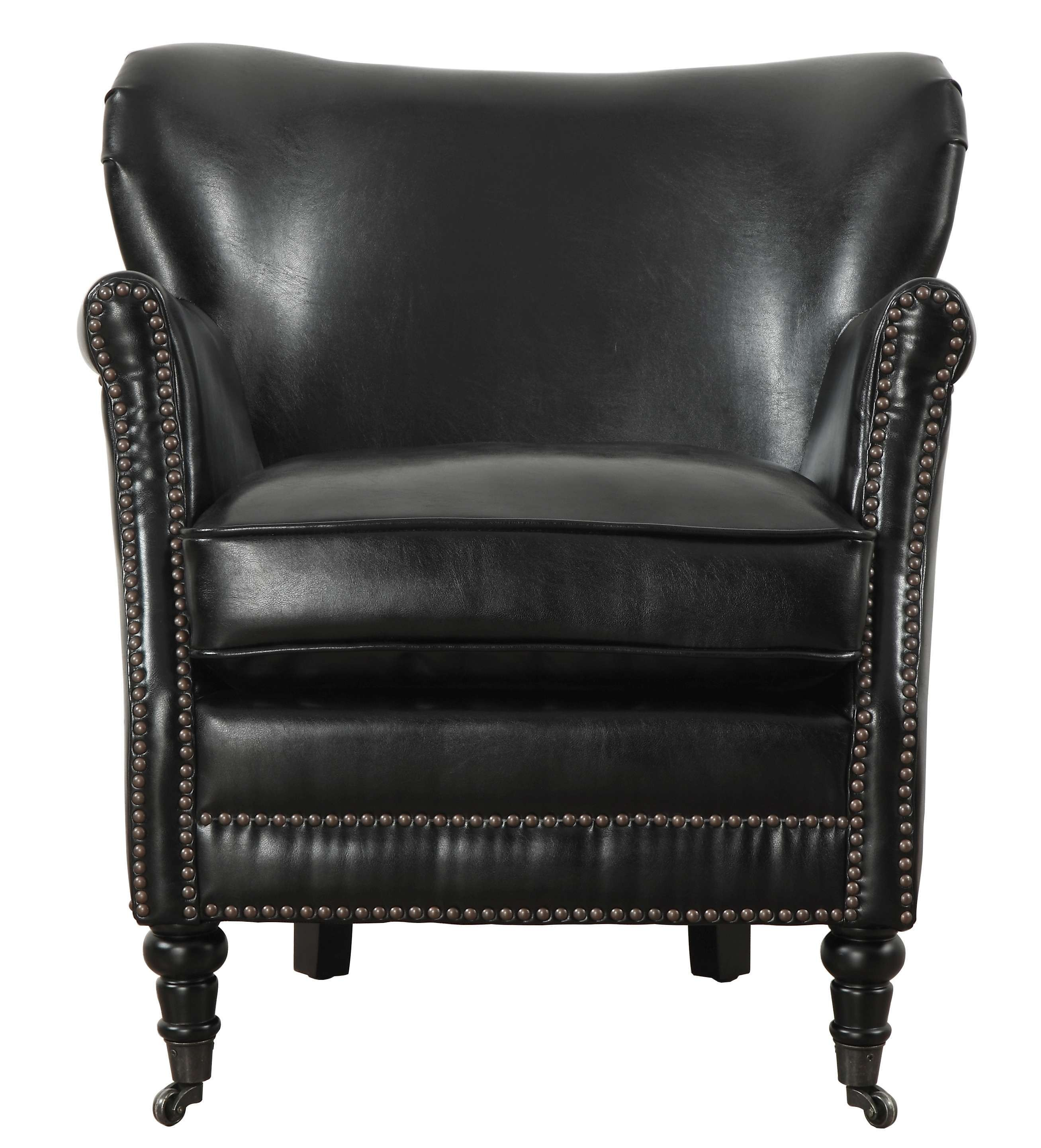 Club Chair Leather Mercer Black Leather Club Chair In Chairs And Recliners Living