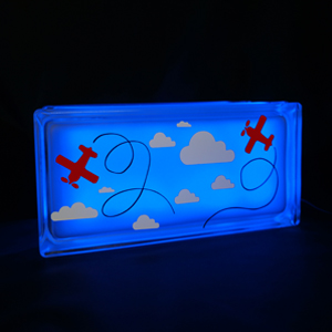 Kids nightlight with plane and clouds