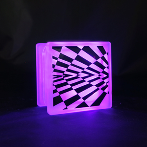 Glass block LED light optical illusion decal