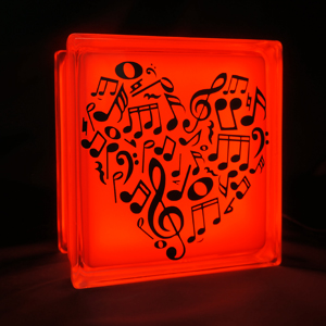 Glass block LED light with music note heart decal