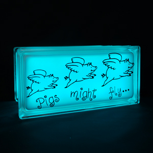 Glass block LED lamp pigs with wings decal