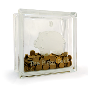 Glass block Piggy bank money box