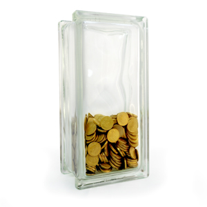 Money box glass block tall