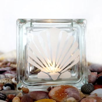 glass block tea light candle holder with clam shell