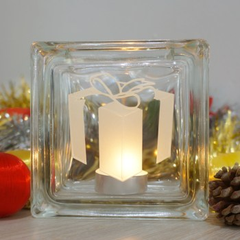 christmas present glass candle holder