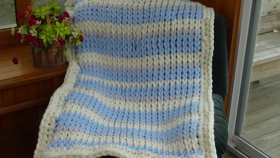#526 Blue Ice Big Stitch Afghan