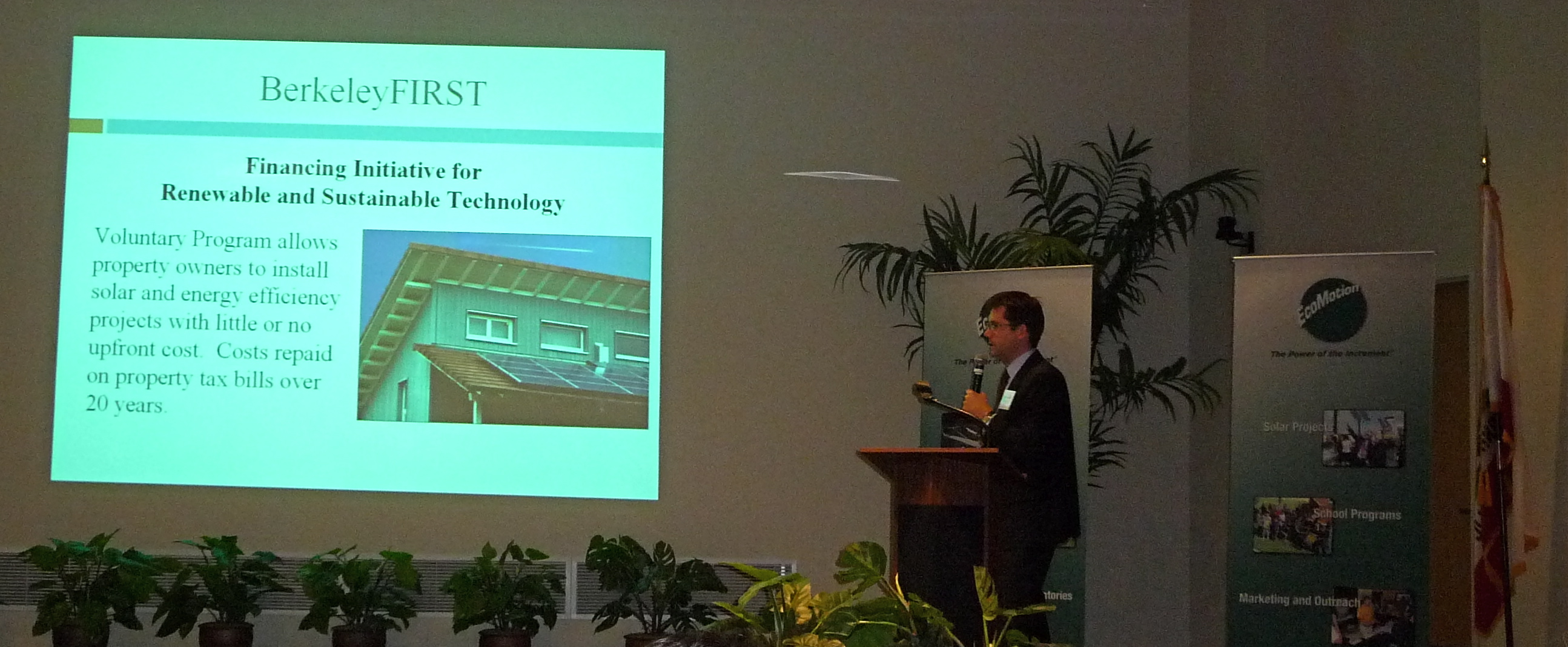 Cisco Devries, President of Renewable Funding from Berkeley, gives his presentation to the conference.