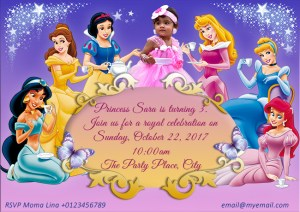 Custome Disney Princess Party Invitation