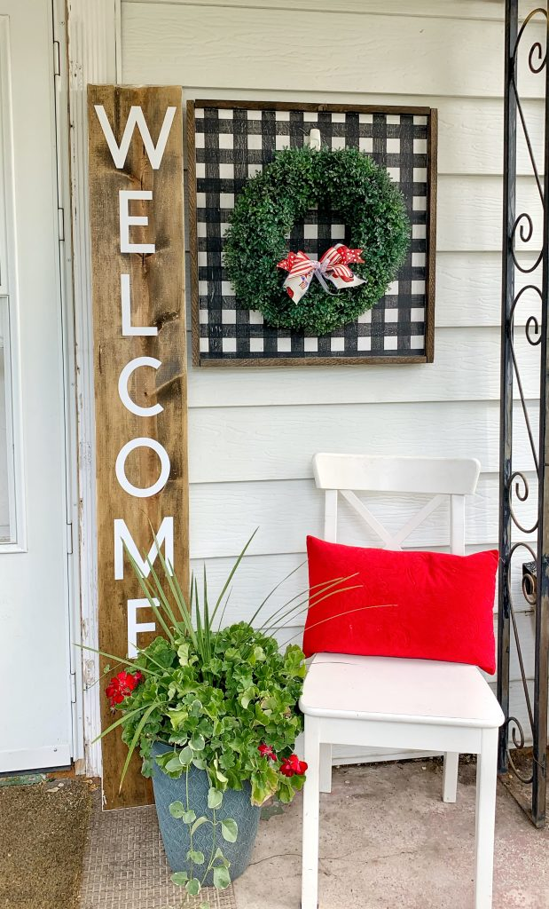 Welcome porch sign with maker 3 on porch