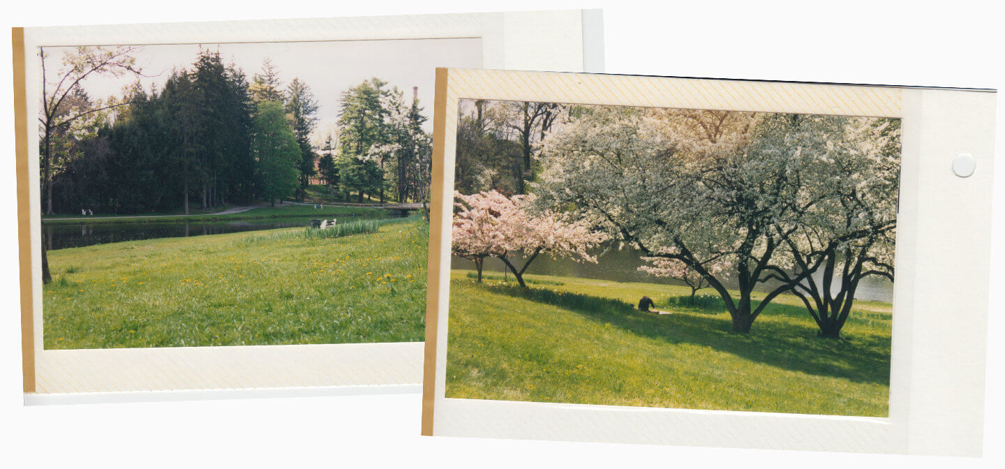 Two old photos of Sunset Hill at Vassar College pasted on the page of a photo album