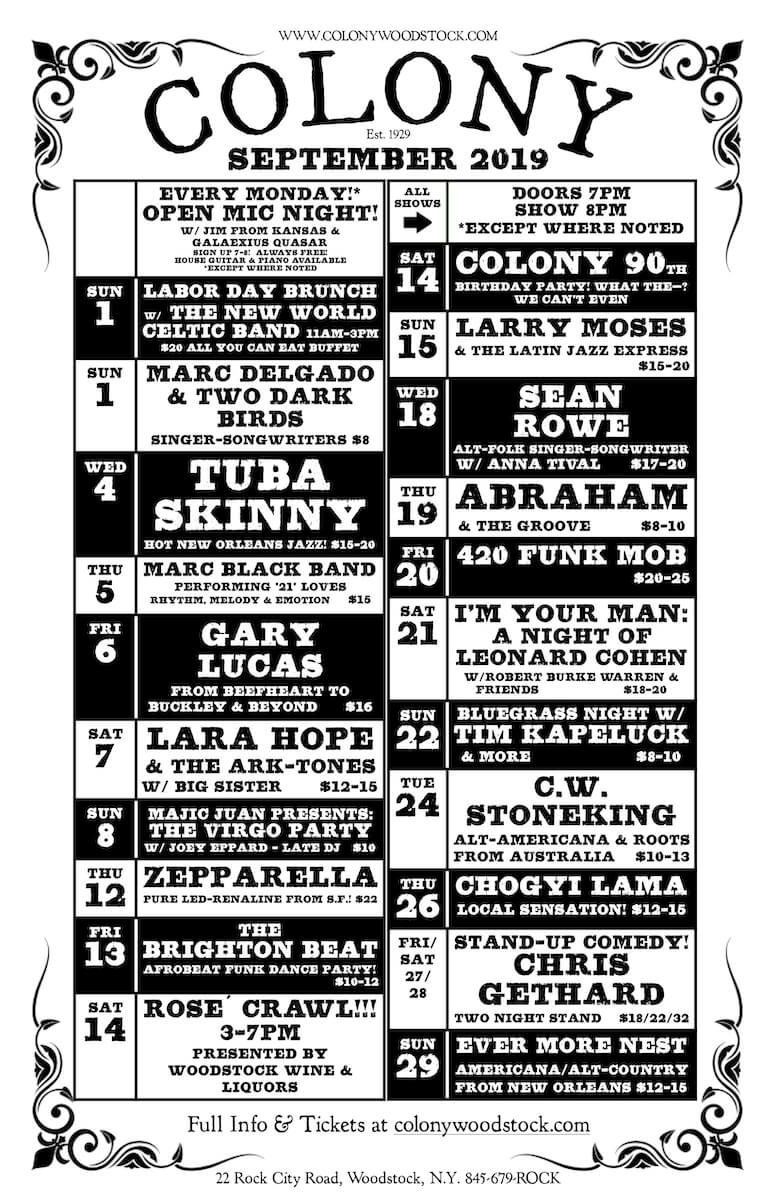 The Colony Woodstock schedule for September 2019