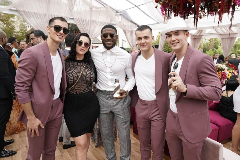 The DeCicco Brothers with NFL Legend Reggie Bush at the 2020 Roc Nation Brunch, sponsored by Super Coffee, ahead of the Grammys.