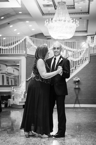 Mendenhall Inn wedding black and white of mother and groom dancing
