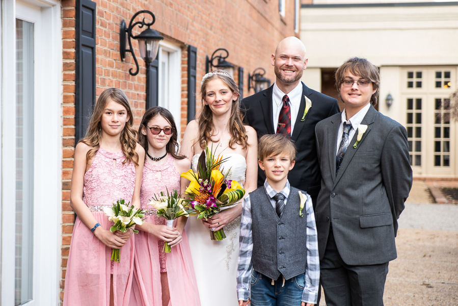 Bride groom and their young family bridal party at Hilton Christiana wedding