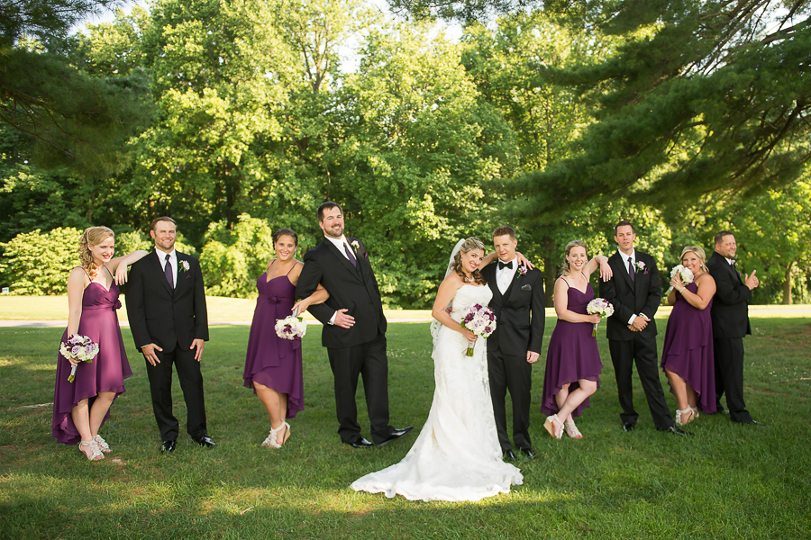 Bridal party in magazine poses at a Deerfield wedding